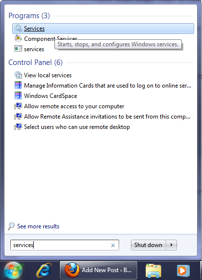 Type Services on the Start Menu to find the Services program