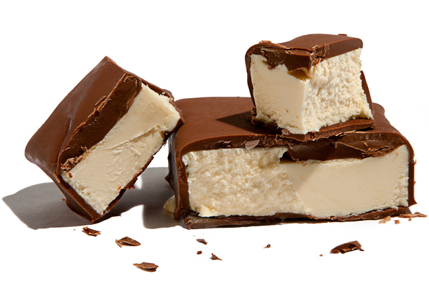Chocolate dipped vanilla ice cream bars